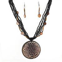 "17"" Multi-Strand Black Seed Bead Giraffe Print Medallion Necklace & Earrings Set"
