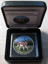 2013 $5 1oz .9999 Silver Maple Leaf SML Pronghorn Antelope Full Colour Canada