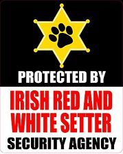 Protected Irish Red And White Setter Security Sticker