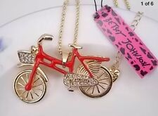Betsey Johnson Necklace BICYCLE Red Enamel Crystals Bicycle