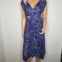 Lucky Brand Floral Print Tie Waist Sleeveless Blouson Dress Navy Womens Size M