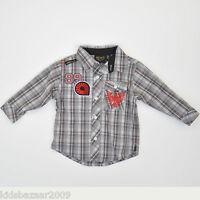 Akademiks Boys Grey Check Roll Up Shirt Size 5/6
