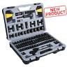 Stanley 123 Piece Mechanics Ratchet Black Chrome Handles Tool Set Sockets Case