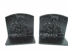 Antique Vintage End of the Trail Cast Iron black Book Ends Great Patina Nice