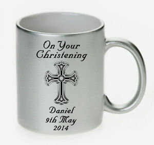 Christian Cross Silver Pearl Ceramic Mug PERSONALISED Baby Name CHRISTENING Gift