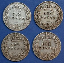 More details for 4 x sixpence edward vii 1907 - 1910 date run sterling silver english 6d coin