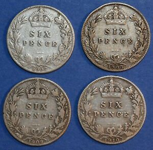 4 x Sixpence Edward VII 1907 - 1910 Date run Sterling Silver English 6d coin