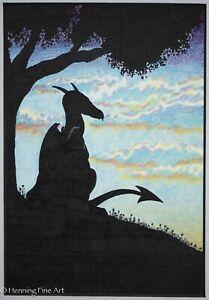 Beautiful Vintage Fantasy Dragon Artwork Signed & Matted, Wonderful Sky!