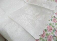 ROMANTIC ROSEBUDS * Antique DAMASK HUCK LINEN * Vintage European BATH TOWEL