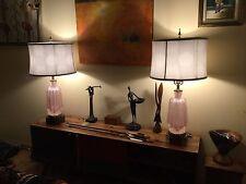 ITALIAN PAIR MURANO GLASS LAMPS SILVER FLECK MID CENTURY BAROVIER & TOSO