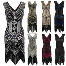 Ladies 1920s Style Beaded Flapper Sequined Deco Fringe Gatsby Fancy womens Dress