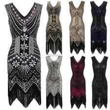 1920s Retro Style Gatsby Fancy womens Dress  Beaded Flapper Sequined Fringe ZM25