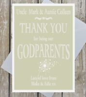 Personalised Thank you for being Godparents Godfather Godmother card chalk style