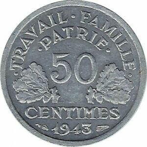 FRANCE 50 CENTIMES BAZOR 1943 TTB+