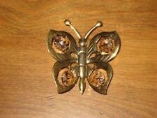 GLASS & BRASS WINDOW/FRIDGE SUCTION CUP BUTTERFLY OR TREE ORNAMENT