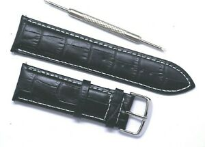 24mm Replacement Black/White Leather Croco Watch Band W/ Tool - Invicta Lupah 24