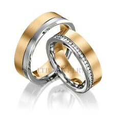 10K SOLID TWO TONE GOLD WEDDING BANDS, HIS & HERS DIAMOND WEDDING RINGS SET