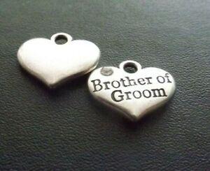 Brother of Groom Rhinestone Pendant Charm Antique Silver Wedding Jewellery  x 10