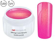 UV LED Gel GOLD METALLIC BUBBLE PURPLE Effekt French Color Nail Modellage Pink
