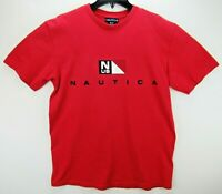 Vintage Nautica Men's Size Medium T Shirt  Spell Out Red