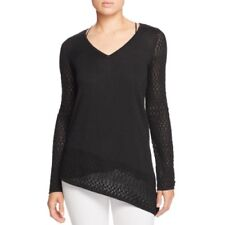 NEW Design History Women's Asymmetric Hem Pointelle Pullover Sweater Black L $98