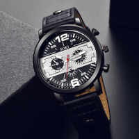 Fashion Men Leather Band Analog Quartz Round Wrist Watch Business Sport Watches