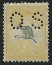 5/- Roo Acsc 44Db~SG050 GREY AND PALE YELLOW OS 3rd Wmk MLH.