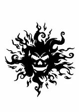 High Detail Flaming Skull Airbrush Stencil - Free UK Postage