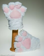 Bunny / Cat Paws Cute Soft Fuzzy White & Pink Faux Fur Costume Animal Gloves