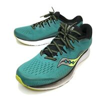 Saucony Men's Size 11 Ride ISO 2 Series Everun Running Shoes Green White Yellow