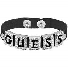 Guess ubb81317 Bangle Black Leather Bracelet Crystal New