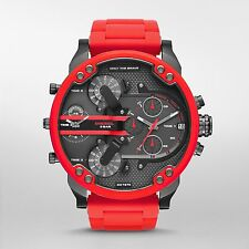 Diesel Original DZ7370 Mr Daddy 2.0 Red Silicone Strap Chronograph Watch 57mm
