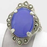 Vtg 1930s Art Deco Sterling Silver Natural Blue Chalcedony Marcasite S 6.75 Ring