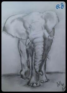 #ORIGINAL DRAWING A4 PENCIL ART African elephant art beautiful handmade