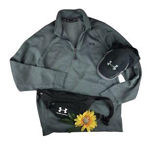 Under Armour Men's UA Storm Sweater Fleece 1/4 Zip Loose Fit Large Heather Grey