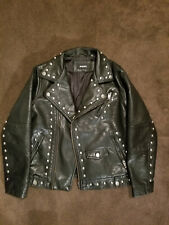 DIESEL black studded faux leather motorcycle jacket SMALL