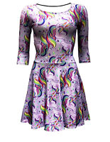 Women's Cute Rainbow Multi Unicorn Stars Rockabilly 3/4 Sleeve Skater Dress