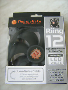 Thermaltake Riing 12 Case Chassis Fan 1500rpm White LED 3-Pin 12V 120x120x25mm