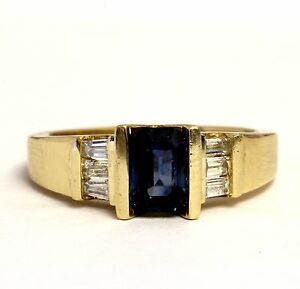 14k yellow gold .30ct SI2 H womens diamond natural sapphire gemstone ring 5.1g