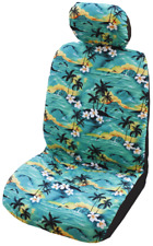 Green 100 Sunsets Hawaiian Separate Headrest Car Seat Cover - Set of 2