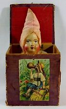 Antique Victorian Jack in the Box Pink Snow Baby Doll Face Toy
