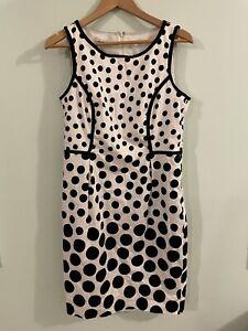 SAVANNAH black & white spots spotted pencil corporate race derby day 14 dress