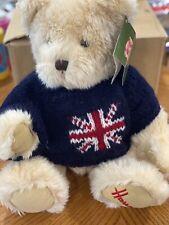 Harrods Knightsbridge Plush Teddy Bear w/Union Jack Flag on Blue Sweater