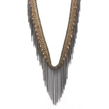 Silk fabric, glass beads and fringe necklace