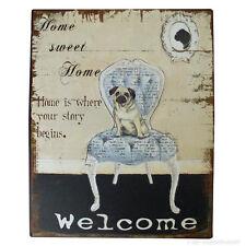 Eingangsschild Türschild Welcome Mops Hund Barockstuhl Wandschild zum Aufhängen