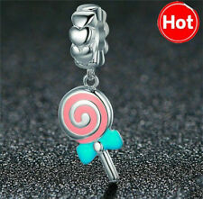 DIY Lollipop European CZ Crystal Charm Silver Spacer Beads Fit Necklace Bracelet