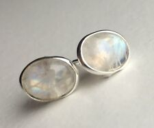 Elegant Genuine 925 Sterling Silver Moonstone Oval Earrings Studs Gemstone