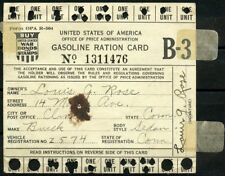 UNITED STATES OFFICE OF PRICE ADMINISTARTION WW II GASOLINE RATION CARD USED