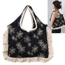 NEW women Black White stitch deco  fabric handbag tote baguette