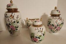 Kutani Ginger Jar Birds Lotus Flower Gold Trim Design 7 Piece Porcelainware Set